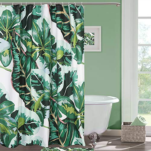 Seavish Fabric Shower Curtain, Tropical Jungle Banana Leaves Plant Shower Curtains, Water Resistant Heavy Weighted Cloth Printed Curtain for Showers, Bathroom Decorations with 12 Hooks, 72 x - Curtain Shower Hooks Jungle