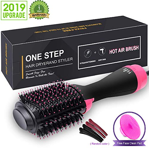 Hair Dryer Brush, One Step Hair Dryer & Volumizer, 3-in-1 negative ion Straightening Brush Salon and Curly Hair Comb Reduce Frizz and Static (black)