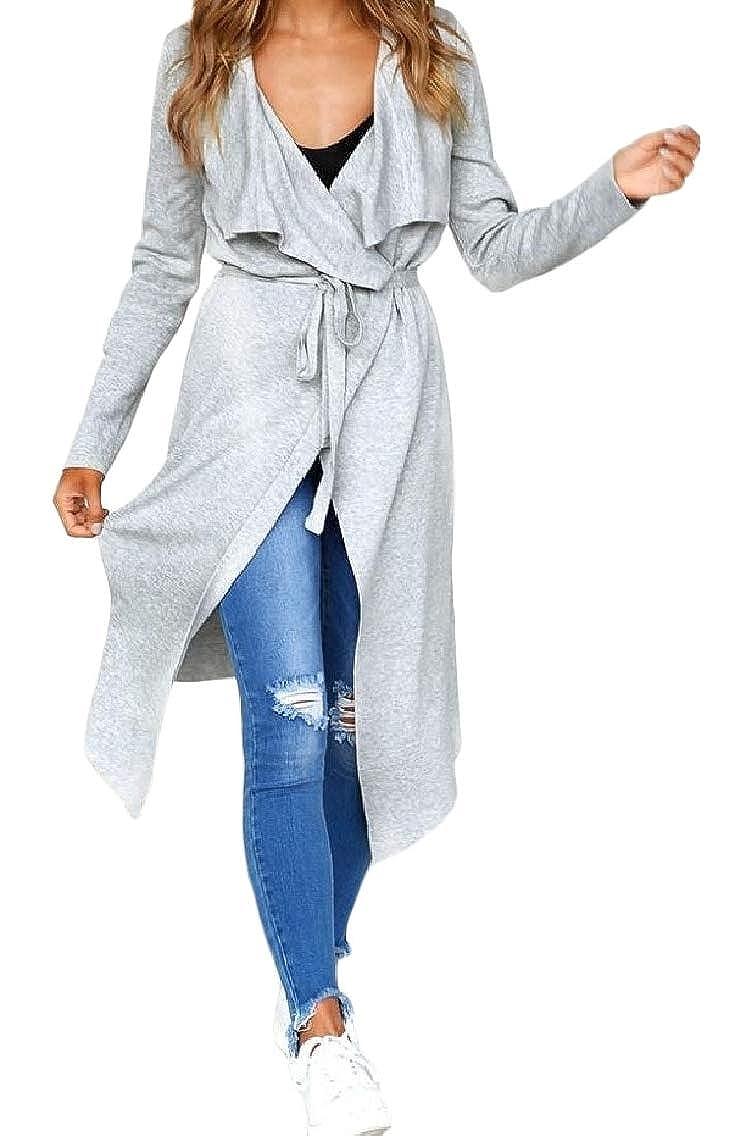 Godeyes Womens Asymmetrical Hem Bandage Long-Sleeve Knit Lapel Knit Cardigan