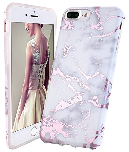 iPhone 7 Plus Case,iPhone 8 Plus Case,DOUJIAZ Shiny Rose Gold White Marble Design Clear Bumper TPU Soft Case Rubber Silicone Cover for iPhone 7 Plus/iPhone 8 Plus