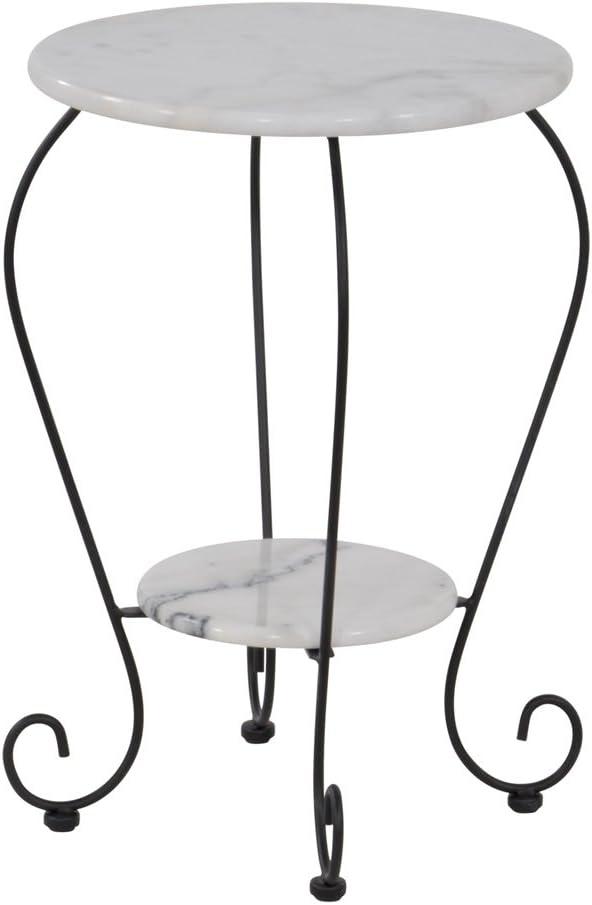Lesli Living Beistelltisch Marmor /Ø41 cm Gartentisch mit gusseisernen Beinen Bistrotisch Rundtisch mit Ablage Blumentisch Telefontisch schwarz//Weiss