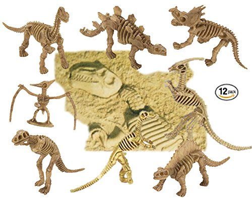 "Play Kreative Assorted Dinosaur Fossil Skeleton Figures – 12 pack of 6"" – 7"" Dino Bone Fossils for PARTY Favors - Prizes - Pretend Play and SCIENCE. Include Triceratops, T-Rex, Stegosaurus n more!"