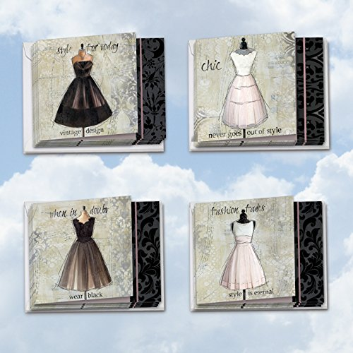 MQ4608OCB-B3x4 Dress Forms: 12 Assorted 'Square-Top' Blank, All Occasions Note Cards Featuring Vintage Style Elegant, Semi Formal Dresses on Dressmaker's Form with (Fashion Note)