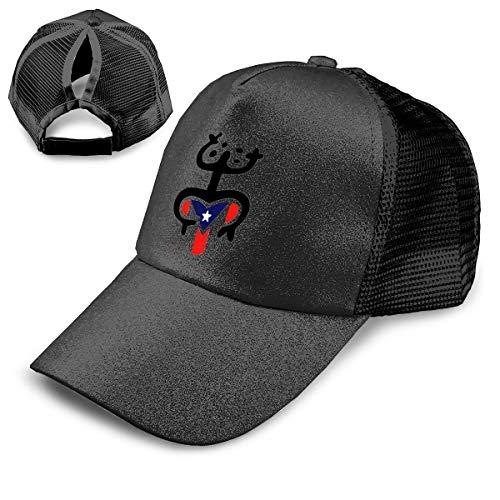 MAWER Coqui,Taino con Bandera de Puerto Rico Lentejuelas Ponytail Béisbol Capazo Alto Bun Glitter con Malla Trucker Hat...
