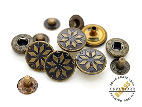 CRAFTMEmore 5/8inch Antique Brass Bohemian Fasteners Popper Snaps Closure Snowflake Rivet Stud Button Leather Decoration Pack of 5 (Antique Brass) (Antique Brass Concho)