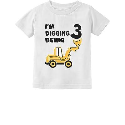 3rd Birthday - Bulldozer Construction Party Toddler Toddler/Infant Kids T-Shirt 24M White
