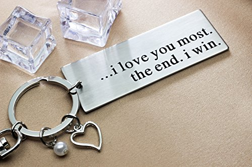 Ms.Clover I Love You Most The End I Win Keychain, Anniversary Gift for Husband Couples Best Friends, Grandparent Mom Child Gift, Wedding Gift by Ms.Clover (Image #4)
