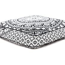 Elephant Mandala Floor Pillow Indian Square Ottoman Pouf Large Meditation Pillow Oversized Outdoor Bed