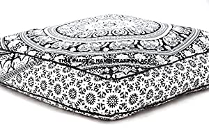 HandicraftsPalace Elephant Mandala Indian Pillow Square Cover,35 x 35-Inches