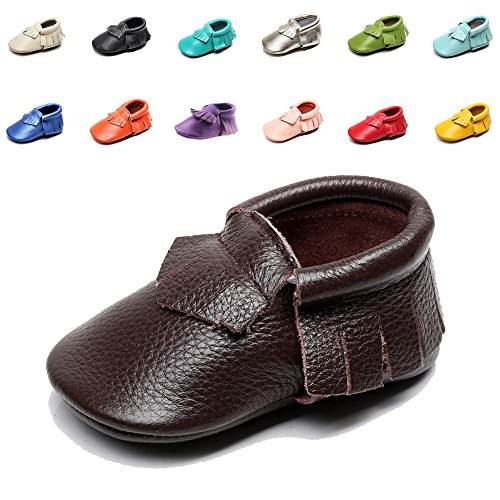 EQUICK Genuine Leather Baby Moccasins Infant Toddler shoes for Boys Girls, CB08, Purple, 24-30 Months