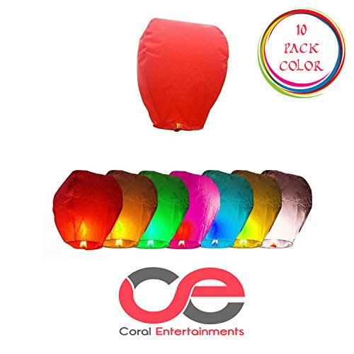 Chinese lanterns 10 pack color