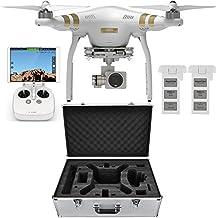 DJI Phantom 3 Professional Quadcopter Aircraft, 3-Axis Gimbal & 4K UHD Video Camera, Remote Controller Included - Bundle With Extra Battery, DJI Aluminum Case