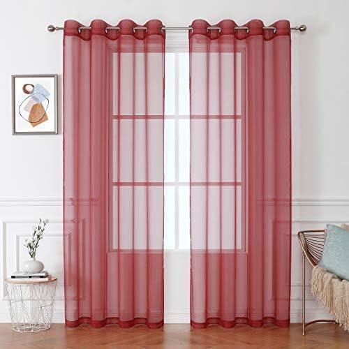 HEJEME Sheer Window Treatment Curtains Length 84inch