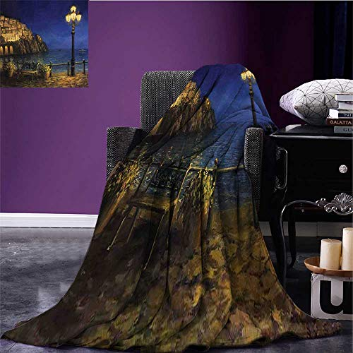 RenteriaDecor Italy Cozy Flannel Blanket Starry and Romantic Evening at The Coast of Amalfi in Italy Oil Painting Style Print Summer Quilt Comforter Navy Blue Brown Bed or Couch ()