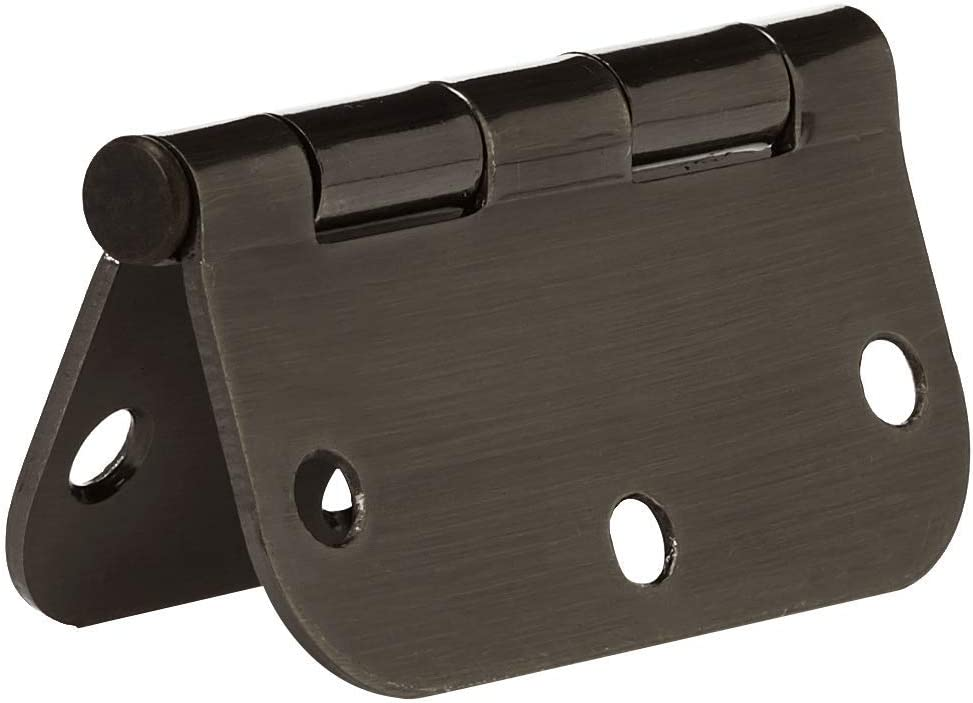 AmazonBasics Rounded 3.5 Inch x 3.5 Inch Door Hinges Matte Black 18 Pack
