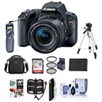 Canon EOS Rebel SL2 DSLR with EF-S 18-55mm f/4-5.6 IS STM Lens - Black - Bundle w/32GB SDHC Card, Camera Case, Spare Battery, Filter Kit, Tripod, Remote Release, Software Package, More