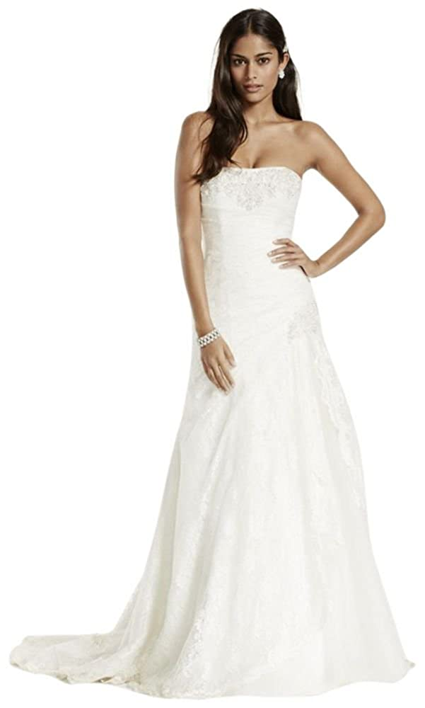 Petite Size A Line Side Split Wedding Dress With All Over Lace Style