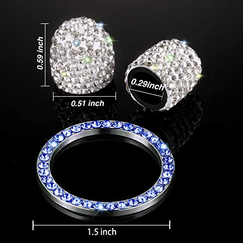 3bedf8dca4e1a Valve Stem Caps 4 Pack Handmade Crystal Rhinestone Universal Tire Valve  Dust Caps Bling Car Accessories with 1 Piece Ring Emblem Sticker for Auto  ...