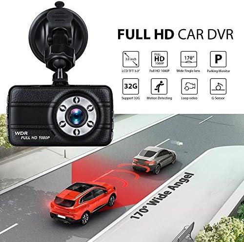 170°のワイドアングル、FHD 1080P車のカメラドライビングレコーダー、モーション検知、Gセンサー、ループ・レコーディング、ナイトビジョンと3インチのダッシュライブチャット