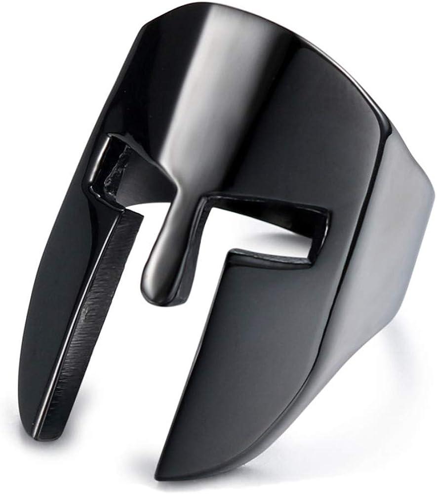IFUAQZ Men's Stainless Steel Spartan Knight Helmet Ring Ancient Greek Warrior Cool Mask Punk Biker Band