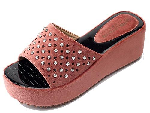 AgeeMi Shoes Mujer Sandalias Plataforma Tacon Alto Para Mujer Classic Zapatos Rojo (EuL11)
