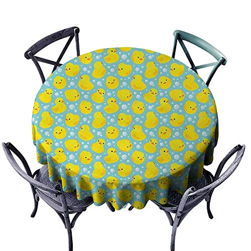 (duommhome Rubber Duck Washable Table Cloth Rubber Ducks on Water Inspired Backdrop Bubbles Funny Cute Pattern Indoor Outdoor Camping Picnic D59 Turquoise Yellow Orange)