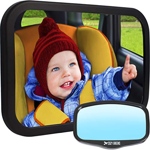 Baby Car Mirror for Back Seat | View Rear Facing Infant in Backseat | Crash Tested Best Newborn Safety Secure Double-Strap | Free Cleaning Cloth & eBook | Baby Shower Gift Box from COZY GREENS