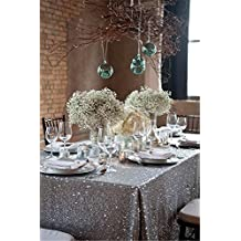 "TRLYC Silver 60""*102"" High Quailty Sparkly Tablecloth Sequin Rectangle Table Cloth for Wedding or Events"