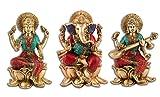 9.5'' Lakshmi Ganesh Saraswati Idol Brass Sculpture Ganesha Statue Diwali Decor Gift