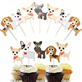 Dog Cupcake Toppers Pet Theme Picks - 48pcs Double Sided Cute Dog Cupcake Toppers Puppy Cake Decorations Pet Theme Party Supplies for Baby Shower Wedding Birthday