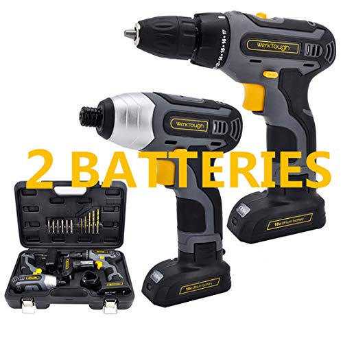 "Werktough 17pcs Cordless Drill Driver Impact  Screwdriver 1/4"" Combo Kit 2 Lion BatterIies Tool Kit Home Improvement Tool Set Cordless Tools Home Repair With Fast Charger"