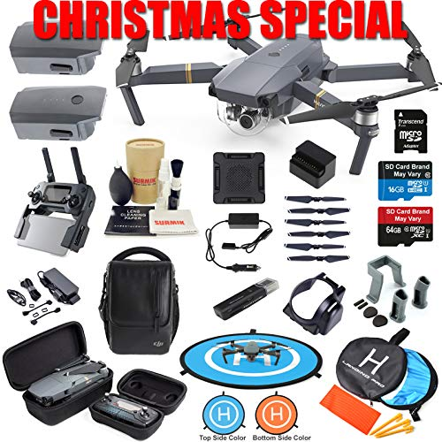 DJI Mavic Pro Drone Quadcopter Fly More Combo with 3 Batteries, 4K Professional Camera Gimbal Bundle Kit with Must Have Accessories