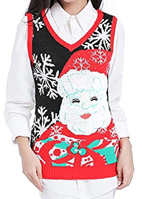 V28 Christmas Sweater, Women Ugly Girls Vintage Red Knit Merry Xmas Sweater Vest