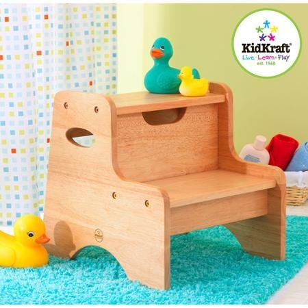 KidKraft - Two-Step Stool, Natural, Sturdy wood construction (Kidkraft Stool Step Toddler)
