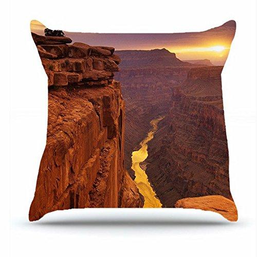 Jshcsj Throw Pillowcase 18 X 18 Inches Cotton Pillowcases Decorative Pillow Cover Case with Hidden Zipper - Nature River along the Canyon arizona canyon dessert nature nevada river skies sun water F