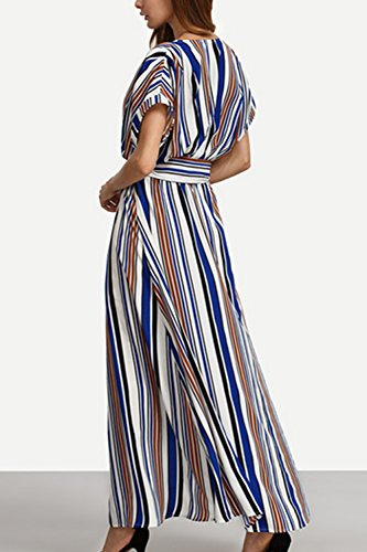 ????????81???, rayas irregulares playa vestido Maxi vestido Casual Bohemia de ???Women vestidos con cinturón