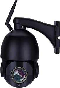 HD 5MP Outdoor PTZ Camera, Wireless WiFi Connection, 20X Optical Zoom, 2592x1944 Resolution, 5.0 Megapixel, 328ft IR Night Vision, Auto Focus, H.265, Onvif, Human Detect, 2 Way Audio, Pan Tilt Zoom