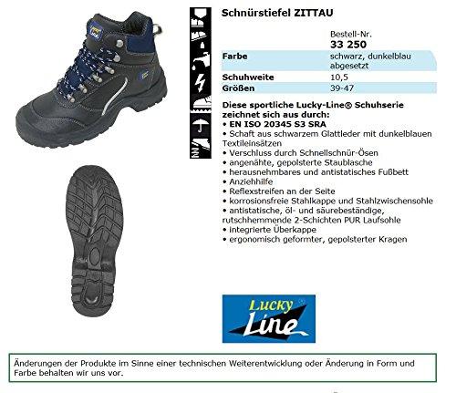 Boot S3 / Scarpe Antinfortunistiche S3 Zittauin Scarpe Sportive, Pelle Liscia, Puntale In Acciaio, Suola Velata Antiscivolo, Taglia 45 Eu, Colore Nero / Blu