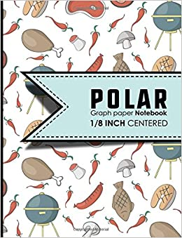 polar graph paper notebook 1 8 inch centered polar coordinates