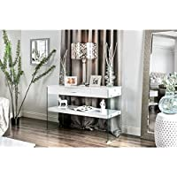 Furniture of America Leden Contemporary Glass Panel Single Drawer Sofa Table White