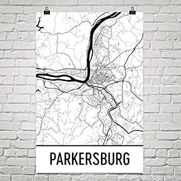 Parkersburg West Virginia Map.Amazon Com Parkersburg Map Parkersburg Art Parkersburg Print