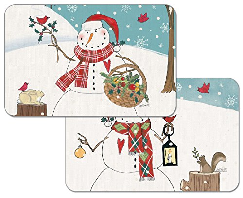 4 Woodland Christmas Reversible Placemats Washable Plastic by CounterArt (Image #1)
