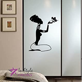 wall vinyl decal home decor art sticker sitting african girl woman with butterfly room removable stylish