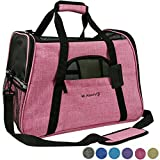 Mr. Peanut's Airline Approved Soft Sided Pet Carrier * Two-Tone Luxury Travel Tote with Fleece Bedding * New Design * Under Seat Collapsibility * Perfect for Cats and Small Dogs (Raspberry Red)