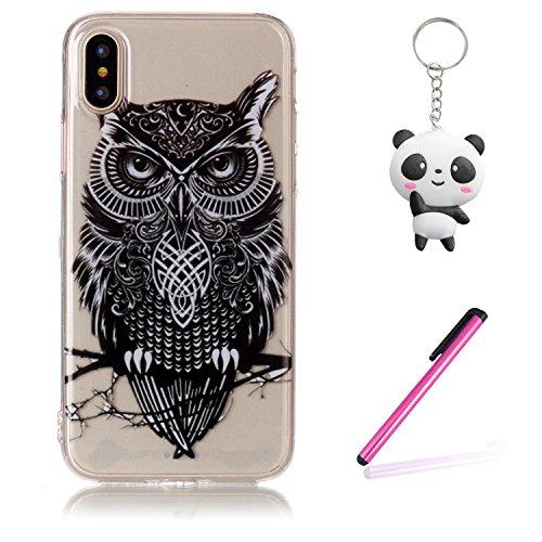 iPhone X Hülle Schwarze Eule Premium Handy Tasche Schutz Transparent Schale Für Apple iPhone X / iPhone 10 (2017) 5.8 Zoll + Zwei Geschenk