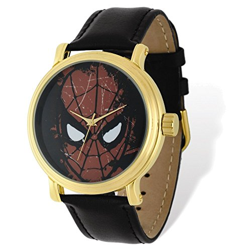 Marvel+Watches Products : Marvel Adult Size Spiderman Black Leather Gold-tone Watch