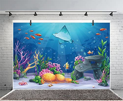 10x6.5ft Cartoon Underwater World Backdrop Baby Shower Photo Booth Wallapper Fairytale Seabed Scenery Under The Sea Fishes Photo Background for Kids Girls Boys Birthday Party Decoration