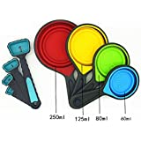 Kamanqi 8 PCS Silicone Measuring Cups and Spoons Portable,Collapsible Made of Durable-Long Lasting Food Grade Silicone