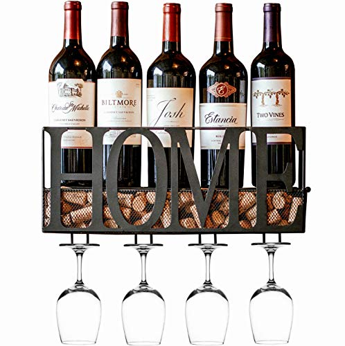 - MKZ Products Wall Mounted Wine Rack | Wine Bottle Holder| Hanging Stemware Glass Holder | Cork Storage | Storage Rack | Home & Kitchen Decor (Home - Black)