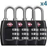 KranGear TSA Luggage Locks (4Pack) -Combination Padlocks - Approved Travel Lock for Suitcases & Baggage (Black1)